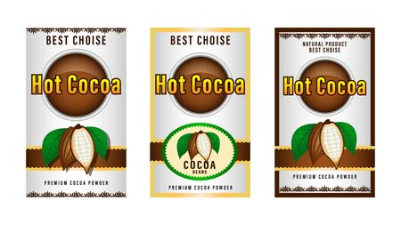 Natural product Cocoa beans packaging layout,  design Label. realistic cocoa fruits with green leaves. Beautiful gradient decorative frames and patterns. Vector Illustration Foto de archivo - 128899744