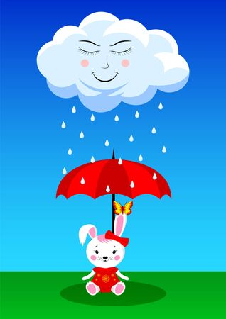 cute rain cloud and white bunny in a red dress  sitting in a clearing under an umbrella. Flat style vector illustration