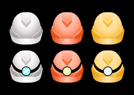 Realistic Set different colors protective helmets with a flashlight isolated on a black background. Front view. Vector Illustration