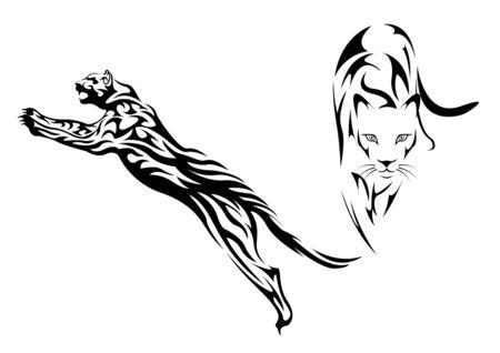 black wild cat tattoo, print t-shirt. Tribal pattern style vector Illustration