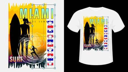 Inscription Miami resort Surf. Girl with surfboard on beach, silhouette running woman against sunset, sea wave. Geometric shape. Design for t-shirt, print, card. Vector Illustration Ilustração