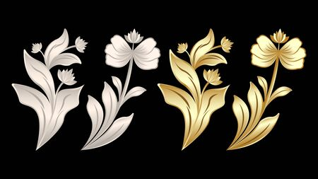 gypsum and gold metal products, stucco weave, pattern, ornament flowers isolated on a black background. Realistic 3d Vector Illustration.