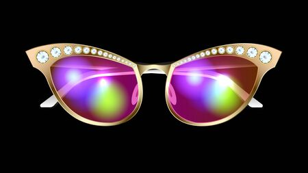 Fashionable, stylish, glamour realistic gold sunglasses with diamonds isolated on a black background. Front view. Horizontal detailed vector, illustration
