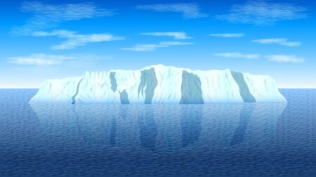 View of a realistic iceberg in a calm sea against a blue sky with clouds. Seascape vector, illustration.