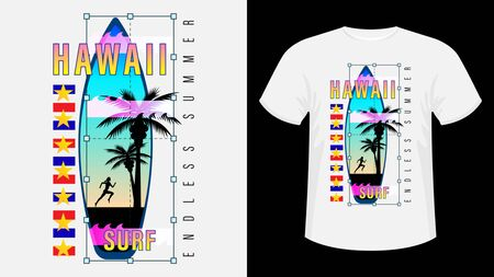 Inscription Hawaii Surf, Endless summer. Surfboard, silhouette of a running woman against the sunset and palm trees. Geometric shape. Concept design for t-shirt, print, card. Vector Illustration