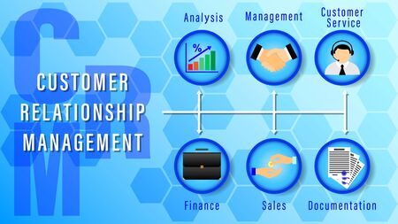 CRM. Customer Relationship Management. Chart with keywords and icons on on a blue background with hexagons in the form of honeycombs. Horizontal flat style vector Illustration