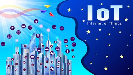 IoT, Smart City, Internet of Things. Modern city with skyscrapers in icons for smart technologies. Night starry sky and sun on blue sky. Realistic horizontal vector, illustration Ilustração