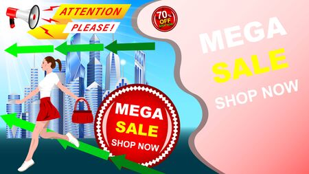 A young woman, girl in a short skirt, with a handbag in her hand, runs against the modern city, skyscrapers. Realistic megaphone, Mega sale, shop, discount. Advertising banner vector, illustration. Stock Vector - 128899683