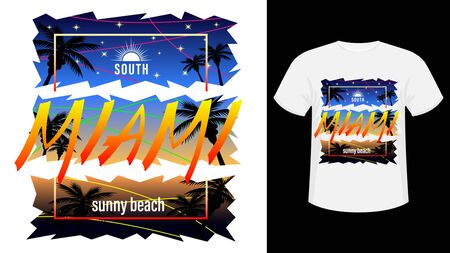 Miami Surf print t-shirt. The slogan on the backdrop of palm trees and sunset, evening starry sky. Beautiful vector illustration