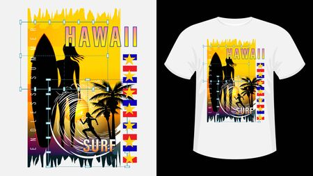 Inscription Hawaii resort Surf. Girl with surfboard on beach, silhouette running woman against sunset, palm trees, sea wave. Geometric shape. Design for t-shirt, print, card. Vector Illustration Ilustração