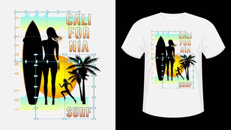 Inscription California, Los-Angeles Surf. Girl with surfboard on beach, silhouette running woman against sunset, palm trees. Geometric shape. Design for t-shirt, print, card. Vector Illustration Ilustração