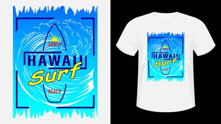 Inscription Hawaii resort, surf. Surfboard, silhouette of running woman against sea wave, sunset and palm trees. Geometric shape. Concept design for t-shirt, print, card. Vector Illustration Ilustração