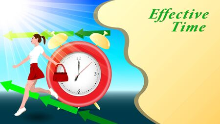 Composition Alarm clock and a young woman, girl in a short skirt, with a handbag in her hand, running down the street, outdoor, in the sunlight. Effective Time. Horizontal banner vector, illustration. Ilustração