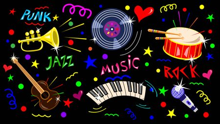 Set of music instruments, symbols drawn in doodle style. Lettering the words of music. Vector Illustration Иллюстрация