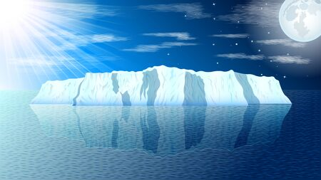 View of a realistic iceberg in a calm sea, the sun and the moon against a blue sky with clouds. Day and night change,  Seascape vector, illustration. Иллюстрация