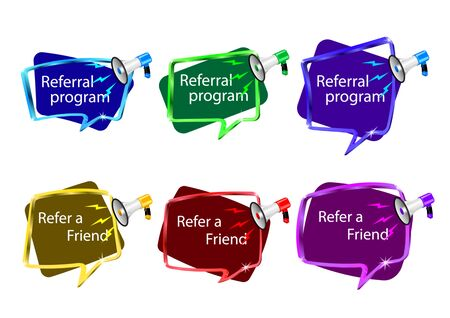 Referral Program message. Refer a friend badge.   Realistic megaphone with lightnings, frames different shape. Business suggestions program. Isolated different color icon set Vector, illustration.