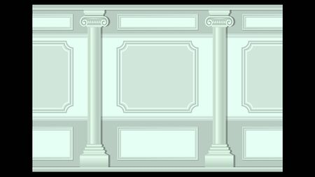 Beautiful stucco floral pattern on light wall panel moulding with columns seamless. Realistic detailed decoration Vector illustration.