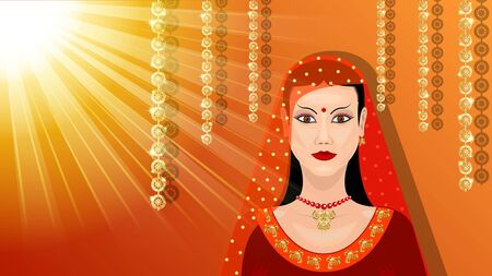 Eastern woman under the sun. Beautiful indian brunette young woman in sari with gold pattern, traditional fashion. Vector Illustration