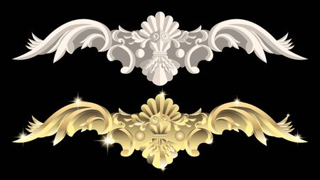 gypsum and gold products, stucco weave, pattern, ornament on a black background. Realistic 3d Vector Illustration Ilustração