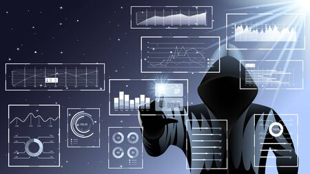Hacker, man in black hood. HUD UI for business app. Futuristic user interface set web elements. Virtual graphic touch user interface. Infographic interface screen monitor, radar. Vector Illustration