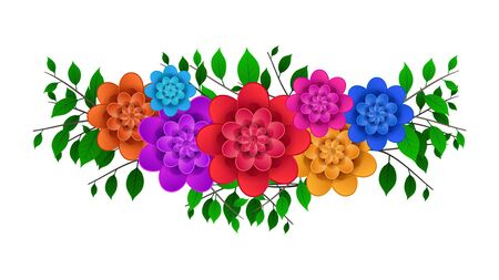 Bouquet of bright colorful flowers with branches and green leaves isolated on a white background. element for greeting cards. Vector Illustration. Imagens - 128899653