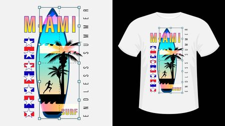 Inscription Miami Surf, Endless summer. Surfboard, silhouette of a running woman against the sunset and palm trees. Geometric shape. Concept design for t-shirt, print, card. Vector Illustration Ilustração