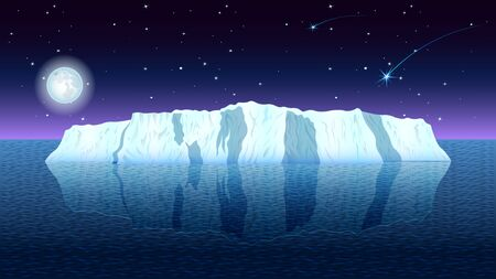 View of a realistic iceberg in a calm sea against a night starry sky. Seascape vector, illustration.