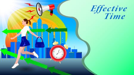 A young woman, girl in a short skirt, with a handbag in her hand, running down the street against the background of a modern city, skyscrapers. Effective Time. Horizontal banner vector, illustration. 向量圖像