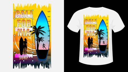 Inscription California, Los-Angeles Surf. Girl with surfboard on beach, silhouette running woman against sea wave, sunset and palm trees. Concept design for t-shirt, print, card. Vector Illustration