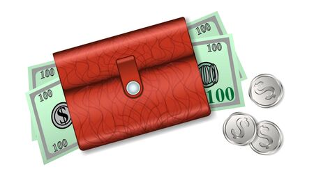 realistic leather wallet with paper money, dollars and coins isolated on white background. View from the top, Vector illustration Illustration
