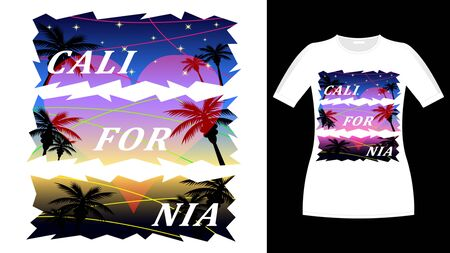 California heart love print t-shirt. Palm trees and sunset, starry sky. Beautiful vector illustration Ilustração