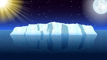 View of a realistic iceberg in a calm sea, the sun and the moon against a starry sky with clouds. Day and night change,  Seascape vector, illustration. Иллюстрация