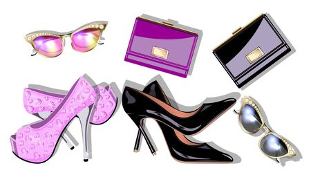 Set Womens fashion accessories pair high-heeled shoes, handbags, sunglasses isolated on white background. View from the top. Realistic detailed vector illustration.