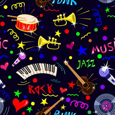 Set of music instruments, symbols drawn in doodle style. Lettering the words of music. Seamless pattern Vector Illustration