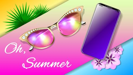 Beautiful summer tropical vacation composition. Fashionable, stylish, glamour realistic gold sunglasses with diamonds and Smartphone. View from the top. Horizontal detailed banner vector illustration. Ilustração