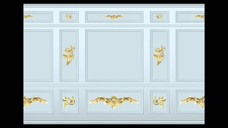 stucco gold floral pattern on light wall panel moulding seamless. Realistic detailed Vector illustration.
