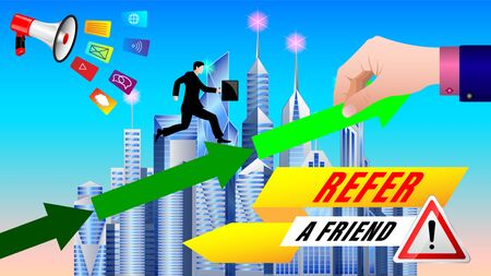 Referral Program. Businessman, a small man, under the megaphone is rising on green arrows, a huge hand helps him. Modern city with skyscrapers in the background. Vector, illustration