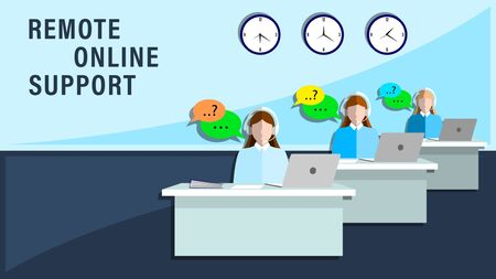 Remote online support. Women employees in the headphones meet the customers in office. Flat style vector illustration. Illustration
