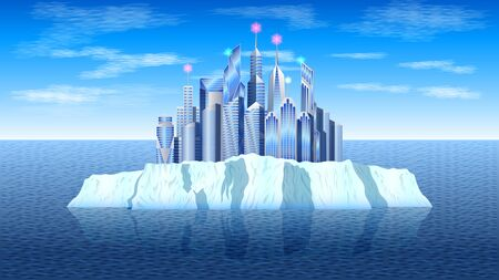 realistic a modern city, skyscrapers on the icy island, iceberg in a calm sea, against a blue sky with clouds. Seascape vector, illustration. Illusztráció
