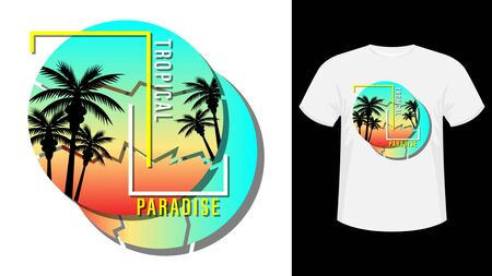 Tropical paradise print t-shirt. Palm trees and sunset in the round. Beautiful vector illustration