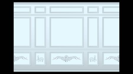 stucco floral pattern on light wall panel moulding seamless. Realistic detailed Vector illustration.