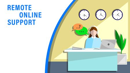 Remote online support. the woman, an employee in the headphones meet the customers in office. Flat style vector illustration.