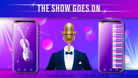 Music show. Compere, master of ceremonies. Realistic gold metal microphone in tuxedo with bowtie, Smartphone with featuring violin and piano on beautiful background. Vector Illustration