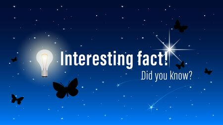 Did you know?, Interesting fact! inscription on website page, banner. Butterflies fly on a night starry sky background. Realistic vector, illustration.