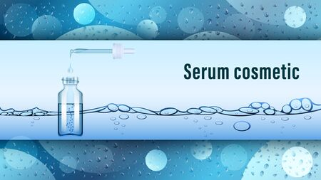 Serum transparent glass bottle with pipette on a water background, wet surface. Realistic vector, illustration. Иллюстрация