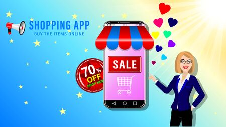 Online shopping app. Smartphone in the form of a store and young woman in glasses on blue sky and sun background. Sale and big discounts advertising banner, website page. Vector illustration. Stock Illustratie