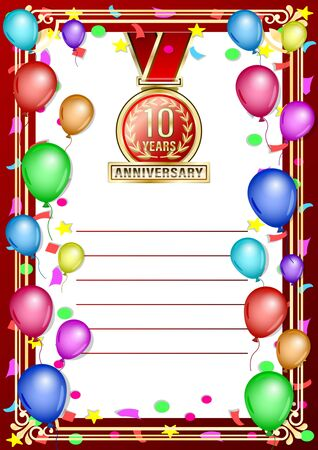 Poster, gift card with colored balloons and gold anniversary label, medal, emblem. Vertical realistic Vector Illustration  イラスト・ベクター素材