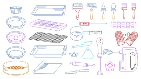 Set of tools for cooking. Kitchen, confectionery appliances doodle hand made. Vector illustration