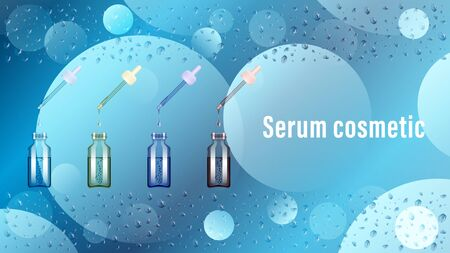 Serum transparent glass bottle with pipette on a water background, wet surface. Realistic vector, illustration. Stock Illustratie