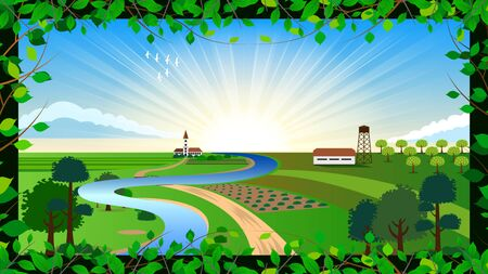 Agricultural farm, country colorful landscape. Beautiful summer fields with, blue sky with clouds, green hills,  blue river. frame of green branches with leaves. Rural scenery vector Illustration.